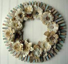 Hope and Joy Home: Upcycled clothespin wreath with book page and sheet music flowers