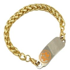 "This curb style chain medical ID bracelet is the newest addition to our collection. The material in the gold links is electroplated gold over base metal and is not pure gold or gold filled. The bracelet is fastened to your medical ID tag with gold tones lobster clasps.  Your medical ID bracelet will be custom engraved with your specific medical information. The medical plate is highly polished stainless steel and measures about 1.7"" by .05"" www.stylishmedicalid.com"