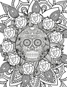Halloween Skull: this free adult coloring page is perfect for getting into the Halloween spirit!