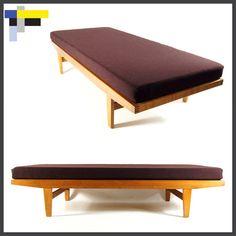 Retro Vintage Danish Oak Day Bed Sofa Chair 3 Seat Scandinavian 1950s 60s 70s   eBay
