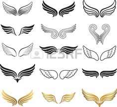 Illustration about Wings icon collection (set of wings). Illustration of animals, element, concept - 34961754 Human Wings, Gardian Angel, Wings Icon, Wings Drawing, Eagle Wings, Heart With Wings, White Wings, Icon Collection, Small Tattoos