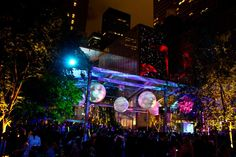 For the after-party, lighting and production company Bentley Meeker set the tone with colorful lights and radial projections, which was reflected in the surrounding buildings.  Photo: Nadia Chaudhury/BizBash