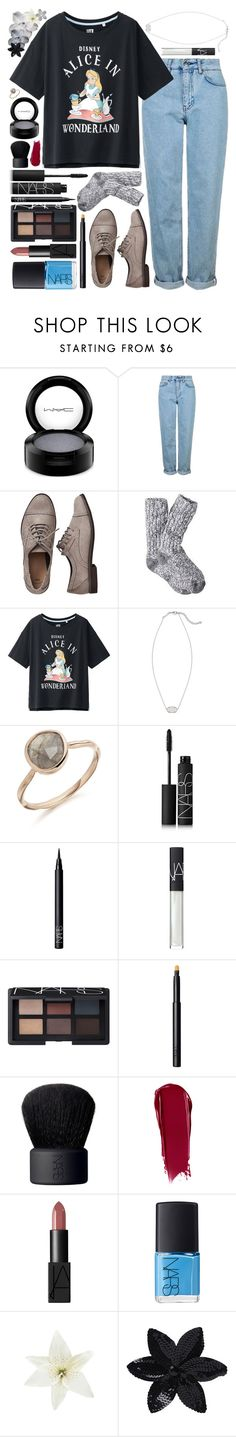 """♔;; we found wonderland ;; kayli"" by aesthetic-queens ❤ liked on Polyvore featuring MAC Cosmetics, Topshop, Gap, Uniqlo, Kendra Scott, NARS Cosmetics, Clips, ASOS, Hudson Jeans and kkspurplestyle"