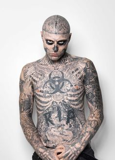 Montreal's Zombie Boy, aka Rick Genest, who catapulted to fame in fashion by virtue of his totally tattooed body, is the new poster boy for concealer. Rick Genest, Boy Tattoos, Body Art Tattoos, Tattoos For Guys, Tatoos, Tattoo Boy, Marcelo Tattoo, Zombie Tattoos, Power Of Makeup