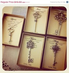 40% SALE Skeleton Key, Bridesmaids Thank You Gifts, Ask Bridal Party, Wedding party Necklace. FREE Personalized Notecards Jewelry box.