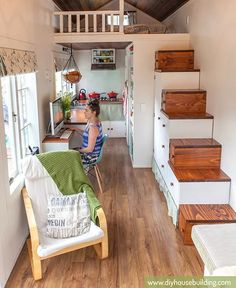 Don't want a #ladder in your #tinyhouse? No problem. Here's how to design a tiny house with no ladder!