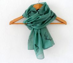 Wide Antler Scarf in Emerald Green, woodland cotton yemeni  scarf, hand stamped lightweight scarf, spring fashion, wedding accessory