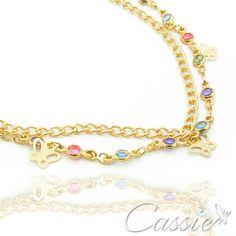 Pulseira Coloré Farfalla folheada a ouro com cristais acrílicos coloridos e garantia. www.cassie.com.br