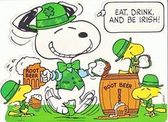 Snoopy, Woodstock and Friends Celebrating St. Patrick's Day - Eat, Drink and Be Irish!