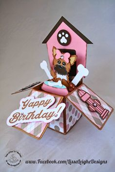 Yappy Birthday card by Melissa - Lissa Leighe Designs Card In A Box, Pop Up Box Cards, Card Boxes, Dog Cards, Kids Cards, Cricut Cards, Stampin Up Cards, Boite Explosive, Exploding Box Card