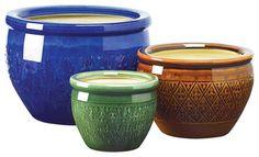 Jewel-Tone Flower Pot Trio - Contemporary - Outdoor Planters - Koolekoo