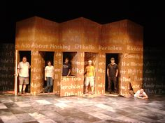 The scenery crew on the set of The Complete Works of William Shakespeare [Abridged] (2012, design by Eric Stone)