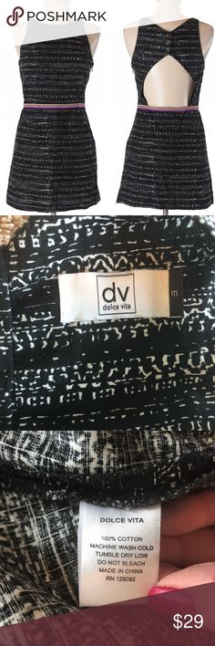 """DV Dolce Vita Cutout Dress Pockets Size Medium DV by Dolce Vita Women's Casual Dress Black with White Pattern, multi colored waist band Front Pockets Back cutout that is secured by snaps, side zipper Size Medium - In my opinion, this dress runs small Pit to Pit: 15"""" Wide Length: 32"""" Long Waist: 13"""" Wide Preowned, excellent condition DV by Dolce Vita Dresses"""