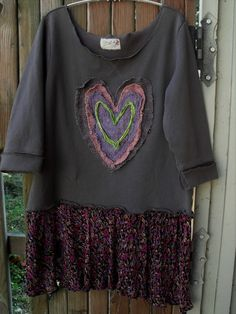 Frazzled Heart Tunic/Upcycled Fleece by SheerFab on Etsy