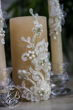 Caramel & white, wedding pillar candles, flowers, pearls, unity candles, rustic chic, cottage, lace and crystals, votive candles, 3pcs ♥♥♥♥♥♥♥♥♥♥♥ABOUT THIS ITEM♥♥♥♥♥♥♥♥♥♥♥ ♥THIS ITEM FOR : - 2 tall tapers - 1 large candle Height of large candle 5 inch Height tapers - 9 inch