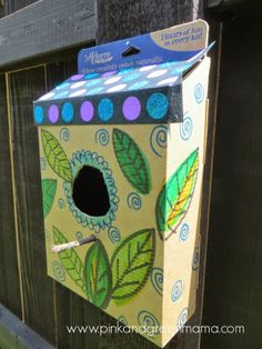 Cardboard box bird house!