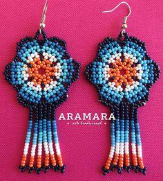 Huichol Beaded Flower Earrings AF-0229 Mexican earrings