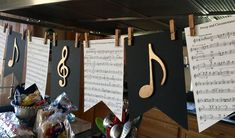 graduation themes graduation party ideas graduation banners black and gold music themed party pomp and circumstance flute sheet music banner Graduation Banner, Graduation Party Decor, Grad Parties, Graduation Ideas, Music Theme Birthday, Music Themed Parties, Birthday Party Themes, Music Party Decorations, Birthday Decorations