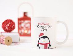 Personalised Christmas Eve Hot Chocolate Mug - Penguin Xmas Children's Gift Mugs