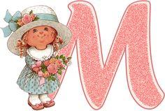 Alfabeto de nenita con flores, dibujo de Sarah Kay.   Oh my Alfabetos!