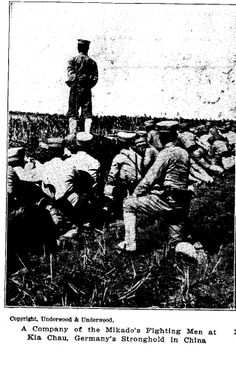 Photograph showing Japanese soldiers going into action against German in Kiaochow. Source: Europe's Greatest War, published 1915