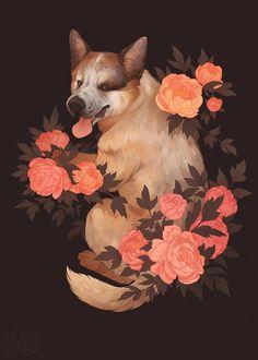 [C] Doggo by norapotwora on DeviantArt Botanical Illustration, Illustration Art, Arte Do Kawaii, Dog Art, Pet Portraits, Art Inspo, Amazing Art, Art Reference, Watercolor Art