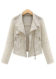 Biege Lace Short Motorcycle Jackets With Turndown Collar | Rosewe.com