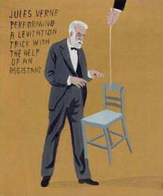 Jules Verne performing a levitation trick