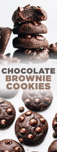You'll love every bite of these chocolate brownie cookies! They're not only decadent but are made with surprisingly healthy ingredients like oat flour and coconut sugar. It's the perfect easy cookie recipe for any occasion that will satisfy your sweet tooth without the guilt or regret! | asimplepalate.com #brownie #cookie #oatflour #coconutsugar Chocolate Brownie Cookie Recipe, Double Chocolate Chip Cookies, Chocolate Brownies, Melting Chocolate, Frozen Cookies, Cake Cookies, Cookies Et Biscuits, Easy Cookie Recipes, Easy Desserts