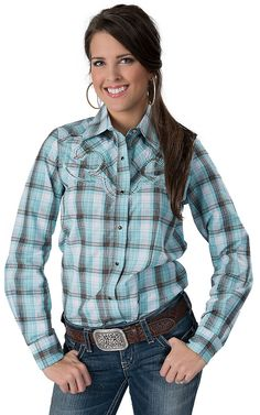 Life Style® Women's Turquoise, White & Brown with Lurex Plaid Long Sleeve Retro Western Shirt