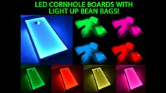 Light up Bean Bags & Cornhole Boards - Amazing Glow Game! Battery Powered, uses High Quality LED Lights!