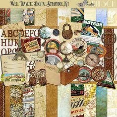 Kit de Scrapbooking Digital bien voyagé - Vintage d