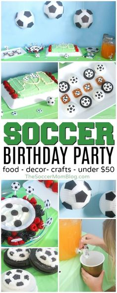 Celebrate your little fútbol star with this easy and thrifty soccer birthday party! (Food, supplies, and party favors for $50 or less!) #soccer #birthday