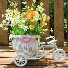 Rattan Tricycle Bike Flower Basket Vase Storage Wedding Party Decor Pink