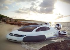Futuristic vehicle Volkswagen Aqua hovercraft concept designed by Yuhan Zhang from China is powered by Hydrogen and propelled by impellers. This Volkswagen concept was designed to cope with the… Aqua, Design Transport, Auto Volkswagen, Volkswagen Group, Automobile, F12 Berlinetta, Offroader, Futuristic Cars, Futuristic Technology
