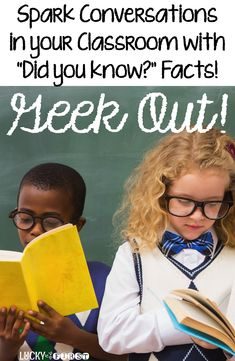 "Geekin' Out - Random Facts for Your Students! Your kids will LOVE random facts! Share a new ""Did You Know?"" fact each day. It'll spark conversations you never imagined!"