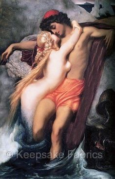 Mermaid Fisherman and the Siren by Leighton Vintage Poster Repro FREE S//H