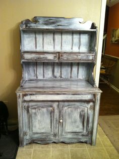 An old/new distressed hutch... So fun to do!