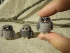 Needle Felted Owls Miniature