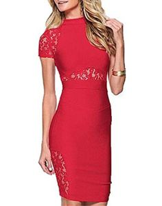 MUSHARE Women's Elegant Floral Lace Midi Cocktail Party Dress (X-Large, Red)    We all love the look of a sexy, trendy and cute casual dress.  I love to wear all types of women's dresses especially ones with a funky, abstract or even floral print.  These dresses are great to wear to work with a jacket or can be worn at night dressed up with jewelry and other fashion accessories.  These are some of the best dresses for women for fashion in 2017.
