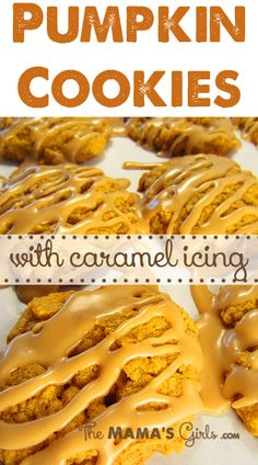 Pumpkin Cookies with Caramel Icing.... yes please!