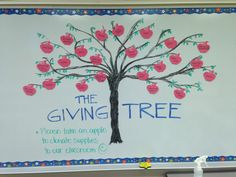 """The Giving Tree for back to school donations on open house night! On the board I would write """"Please feel free to pick an apple or two to help get supplies for our class : ) """" Beginning Of The School Year, New School Year, First Day Of School, 3rd Grade Classroom, Classroom Walls, Kindergarten Class, Future Classroom, Back To School Night, Middle School Art"""
