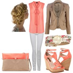 Coral, White, Tan, created by MeganRose on Polyvore