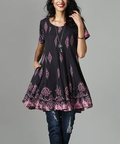 Another great find on #zulily! Charcoal & Pink Damask Swing Tunic Dress #zulilyfinds