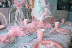 Pastel table settings at a Nutcracker ballet birthday party! See more party planning ideas at CatchMyParty.com!
