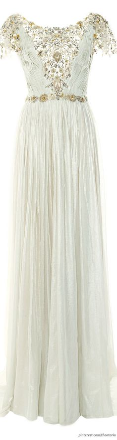 Marchesa ● Pre-Fall 2014, Pleated Silver Foil Chiffon Gown by NiqueGata