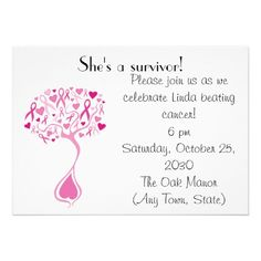 Shop Breast Cancer Survivor Party/Fundraiser Invite created by thinkpinkribbon.