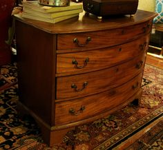 18th Century English Walnut Bow Front Chest of Drawers - Chestnut Lane Antiques & Interiors - 2