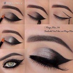 passo a passo maquiagem olhos preto e cinza
