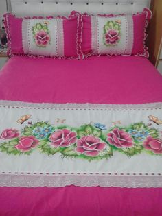 Bed Sheet Painting Design, Fabric Painting, Bed Sets, Bed Pillows, Cushions, Cama Box, Embroidery Flowers Pattern, Curtain Designs, Diy Curtains